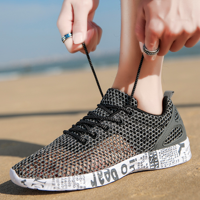 Casual sports shoes mens summer mesh shoes breathable hollow mesh shoes mens large 46 running shoes youth fashion shoes
