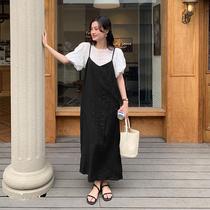 爱蔷薇甜美温柔风大码吊带裙女夏仙女胖mm设计感黑色连衣裙长款