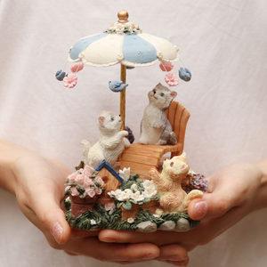 可爱猫咪摆件音乐盒八音盒女生欧式旋转生日快乐创意情侣儿童礼品