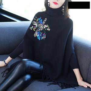 秋冬季长袖宽松大码a字显瘦高领钉珠亮片毛衣针织衫斗篷蝙蝠衫女