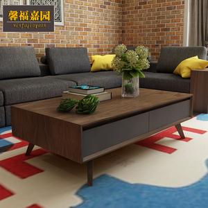 宜家 北欧客厅家具胡桃实木现代简约 小户型茶几电视柜组合套装
