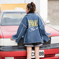 实拍2018春季新款韩版bf学生百搭毛边印花字母牛仔外套女潮8006