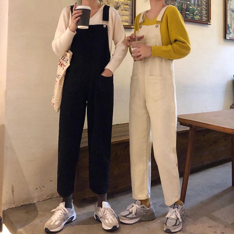 (用0.020000000000003元券)背带女2019秋装新款宽松显瘦牛仔裤