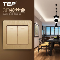 TEP86 type switch socket Wall dark Champagne gold panel double open single 2 open two open single control