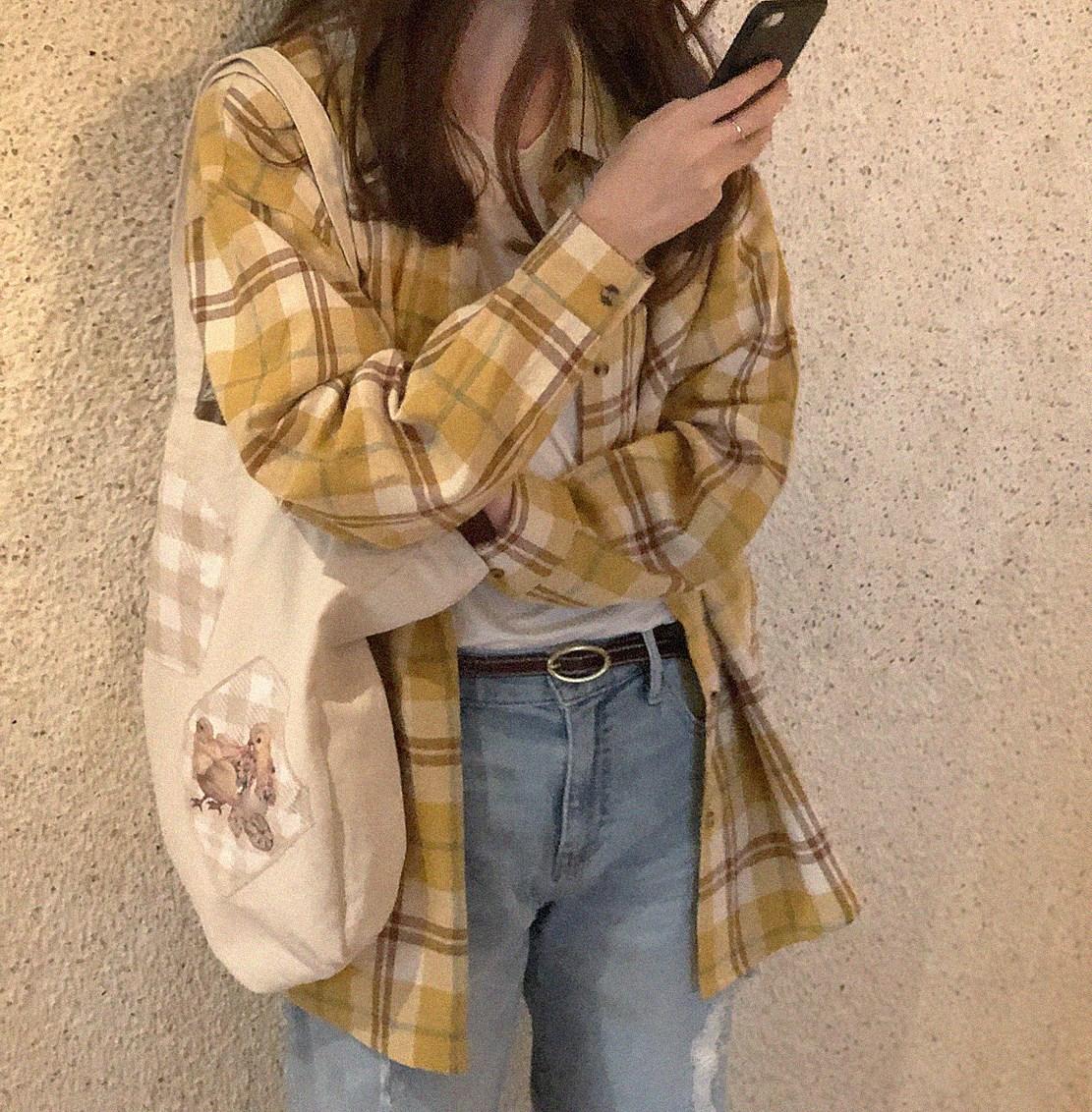 XIN 做旧磨毛 复古黄白 宽松格子衬衫(3)MWJ6ETD1ZW