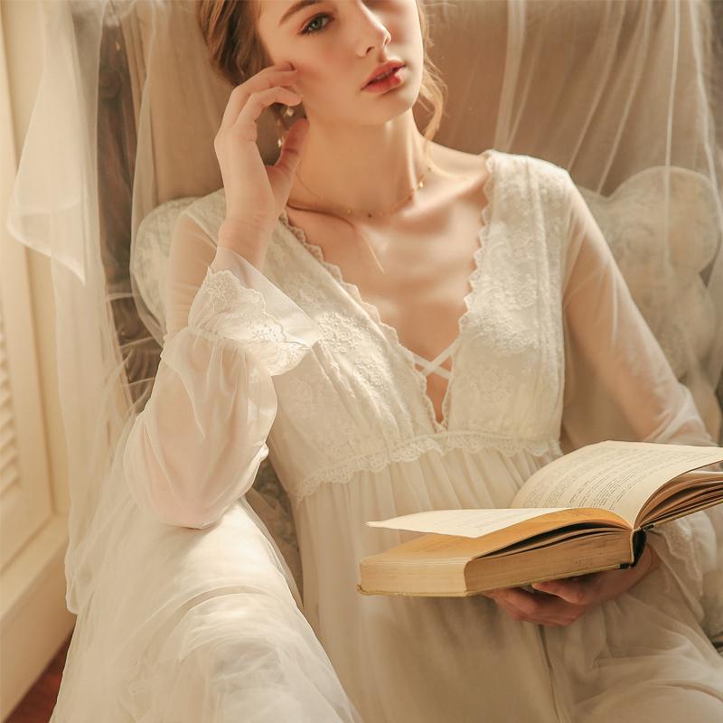 性感蕾丝镂空冰丝睡裙春宫廷风仙女睡衣长款公主大码家居服带胸垫
