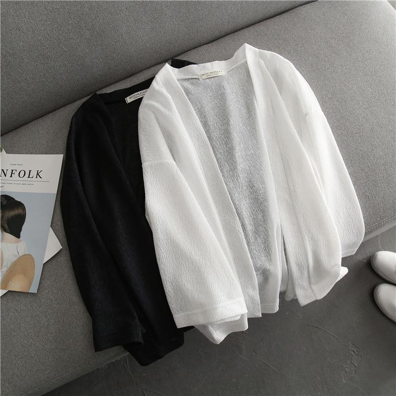 薄款雪紡開衫女 韓版夏季質感七分袖短款純色上衣披肩外套 防曬衣