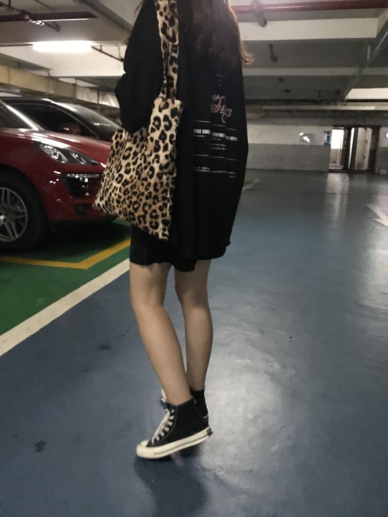 2018新款原宿风韩国豹纹布袋子单肩包女港风复古学生包包购物袋潮