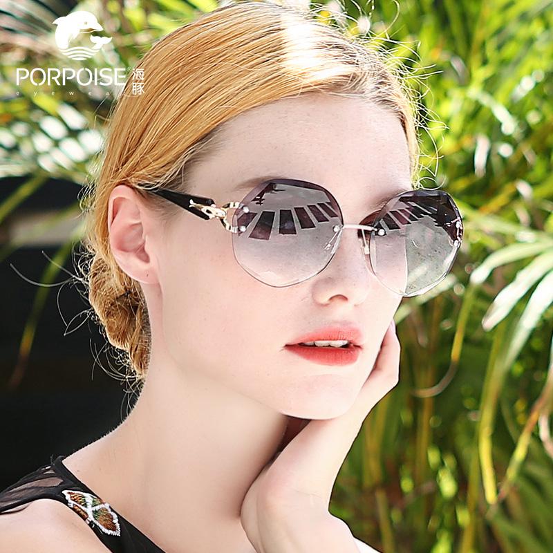 新款太阳镜网红款防紫外线眼镜大脸街拍ins海豚墨镜女韩版潮2018