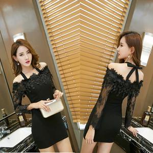 2016新款时尚性感欧美风一字领拼接长袖连衣裙(模特实拍)1260#