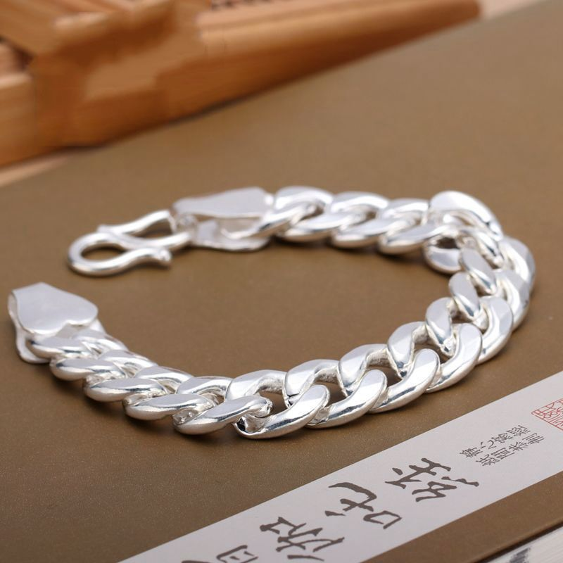 999 Sterling Silver Mens bracelet thousand foot silver flat chain fashion male thick whip Bracelet domineering boys Bracelet
