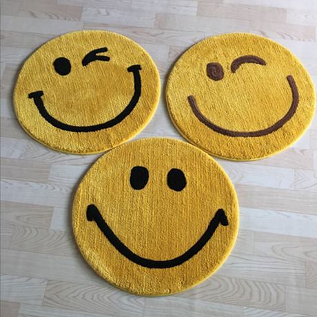 可爱圆形笑脸儿童拍照摄影地毯60, 80 卧室床边防滑吸水地垫包邮