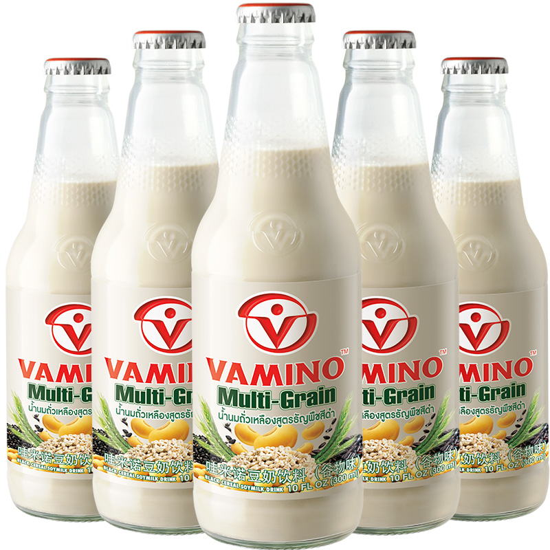 泰国VAMINO豆奶饮料300ml*5瓶 进口哇米诺 谷物早餐奶玻璃瓶饮品