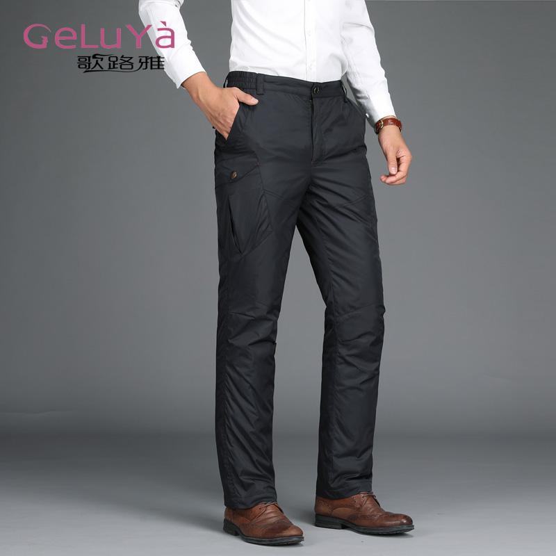 男士羽绒裤男加厚外穿保暖裤加绒运动休闲裤户外大码男装羽绒裤