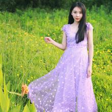 6922#模特实拍宴会伴娘欧根纱刺绣长裙修身夏装雪纺长款女连衣裙