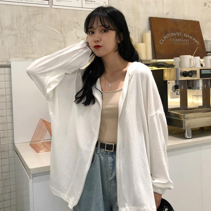 原宿风纯色宽松薄款拉链连帽外套女2020夏季新款韩版百搭长袖开衫