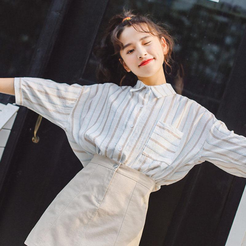 学生衬衣短袖2018新款韩版学院风竖条纹衬衫女夏宽松韩范冷系女装