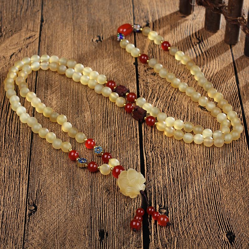 天然西藏民族风羊角108颗男女款佛珠手串 配羊角莲花款羊角项链