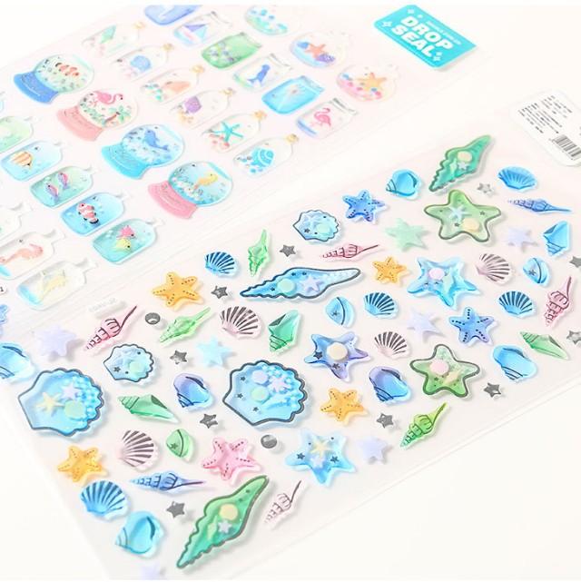 贝壳海洋 海豚 笑脸可爱立体手帐装饰贴纸 手机日记DIY水晶小贴画
