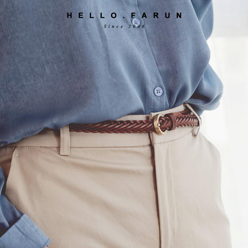 Fanu woven belt womens simple and versatile leisure belt womens fine dress coat decorative skirt belt trouser belt