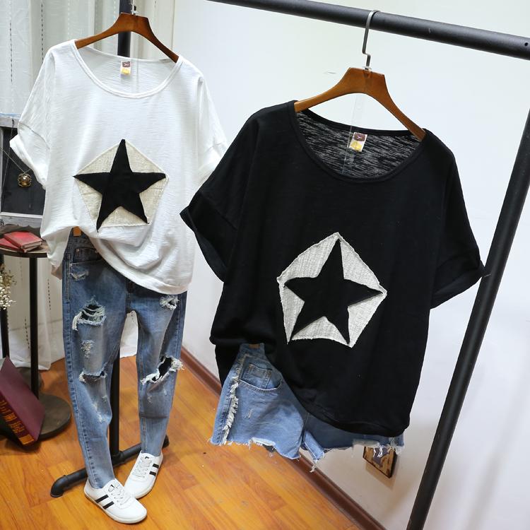微胖女装大码T恤夏装200斤胖mm时尚短袖休闲简约韩版宽松显瘦上衣