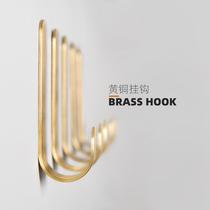 黄铜免打孔金色挂钩北欧金属创意强力承重粘钩墙壁门后衣帽钩