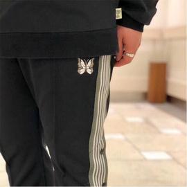 老夫子 NEEDLES 侧边排扣蝴蝶刺绣织带复古休闲秋冬宽松长裤运动