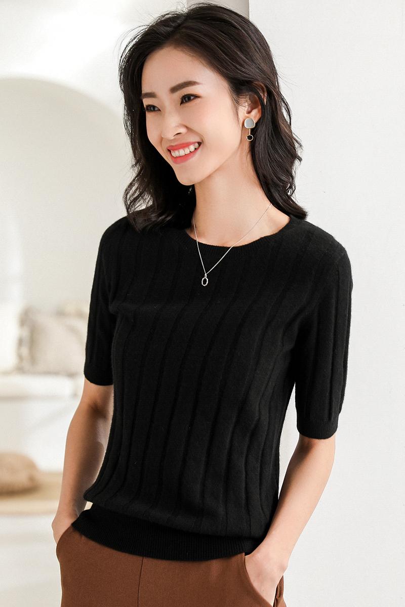Net red T-shirt half sleeve sweater 2019 spring dress slim fit 5 / 5 sleeve short round neck bottom shirt knitted short sleeve female