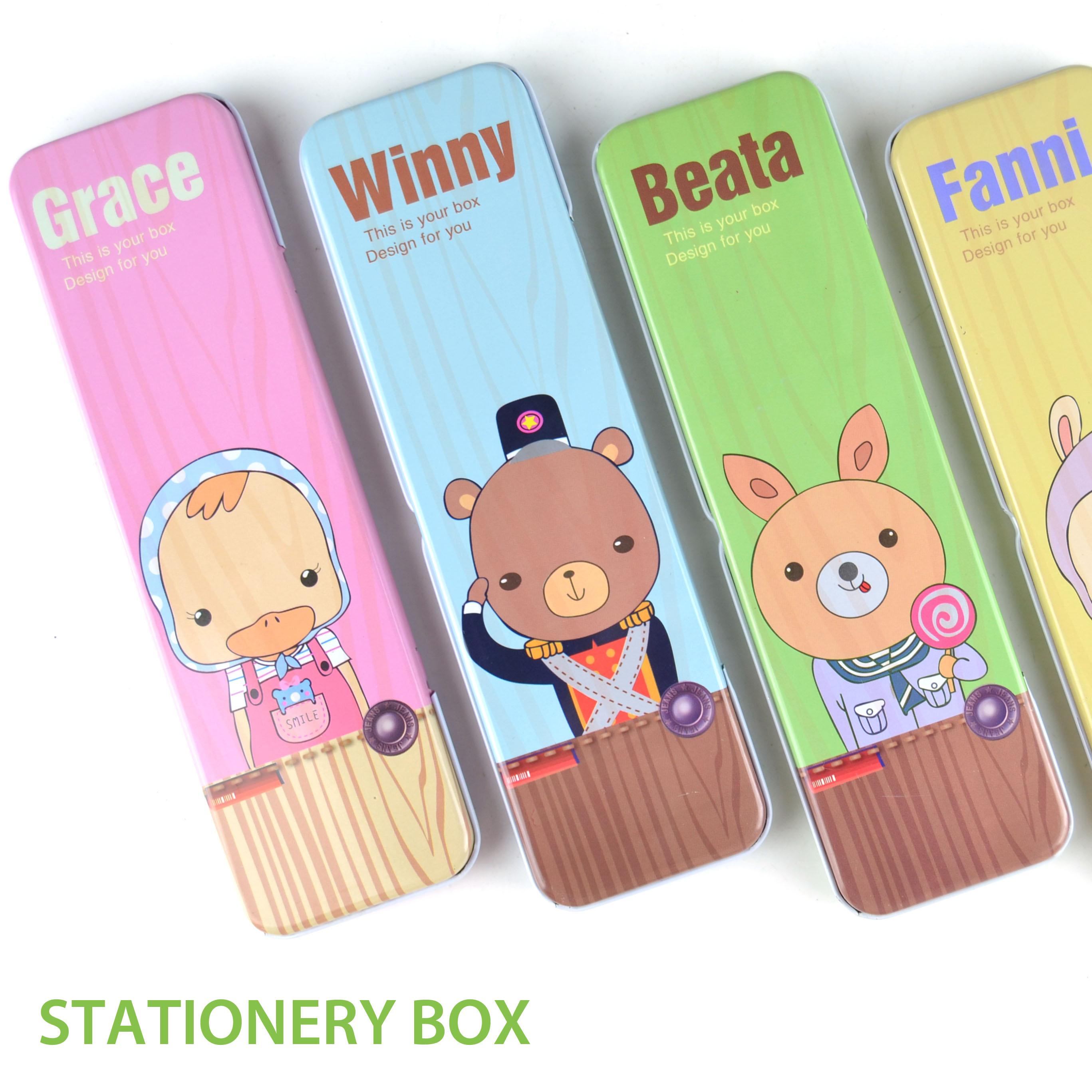 儿童文具可爱铅笔盒小动物方形铁皮盒 学生长条文具盒奖奖品批发