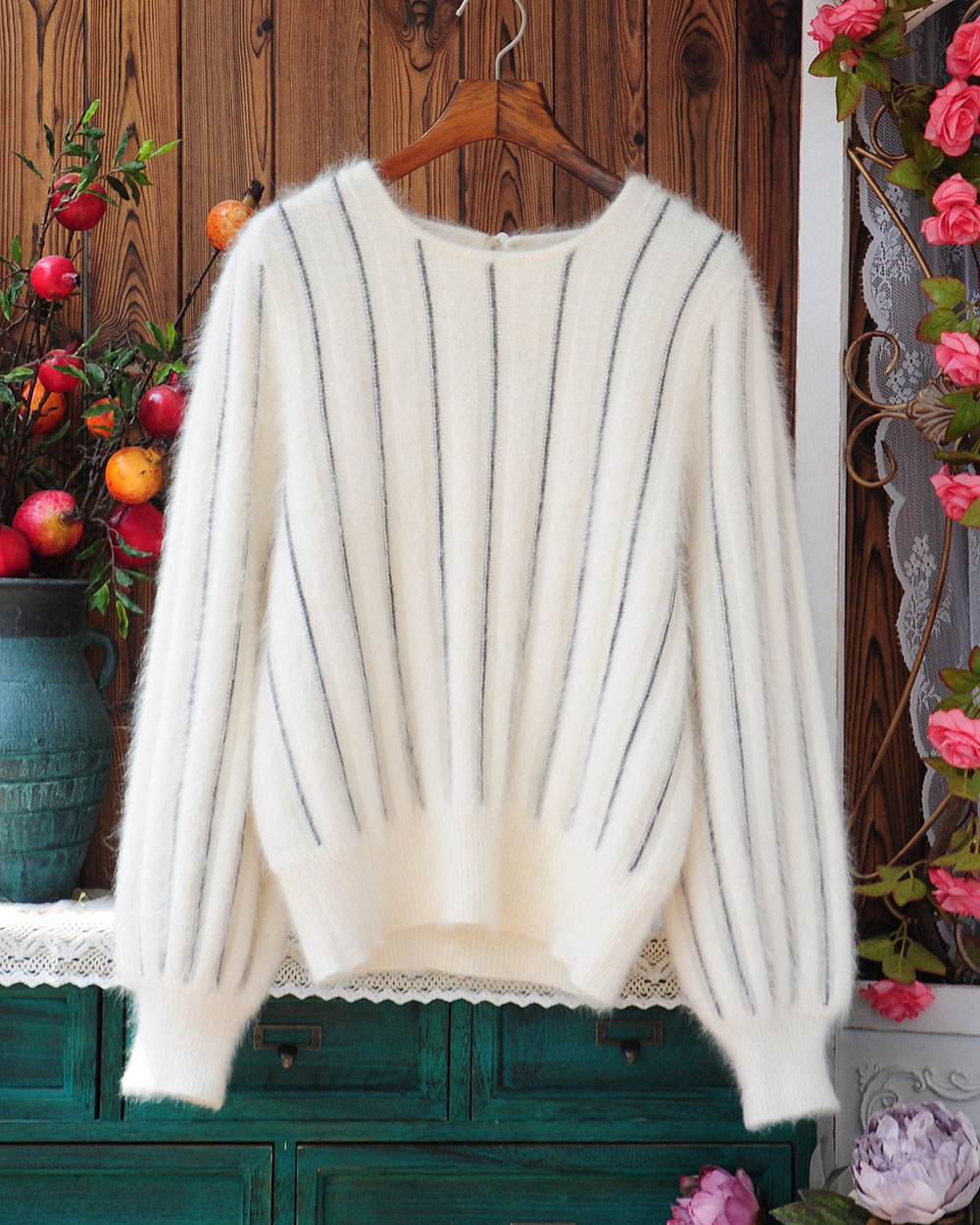 Japanese Angora rabbit hair simple vertical stripe loose warm Lantern Sleeve knitted Pullover Sweater