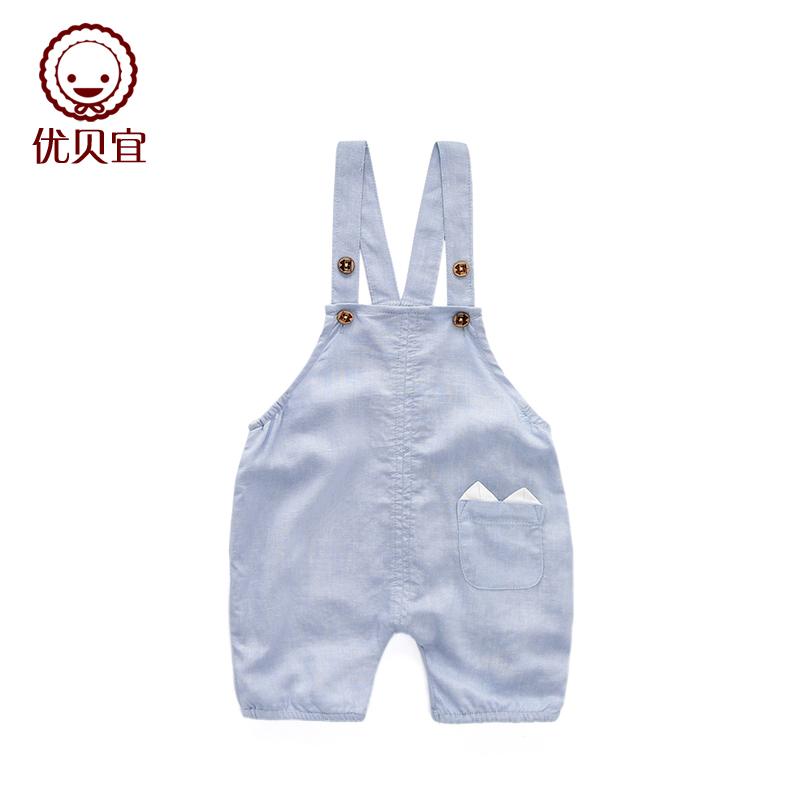 優貝宜 兒童背帶褲 純棉女童背帶短褲男童五分褲嬰兒 寶寶夏裝
