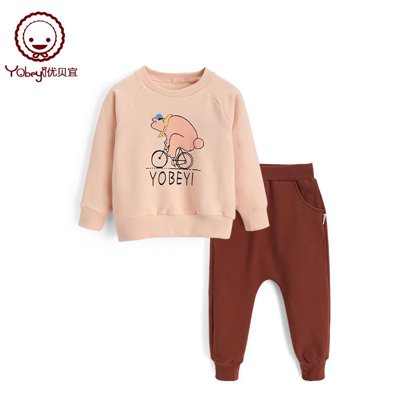 優貝宜 兒童春裝套裝卡通 淺杏單車熊 寶寶衛衣套裝女 男童衣服