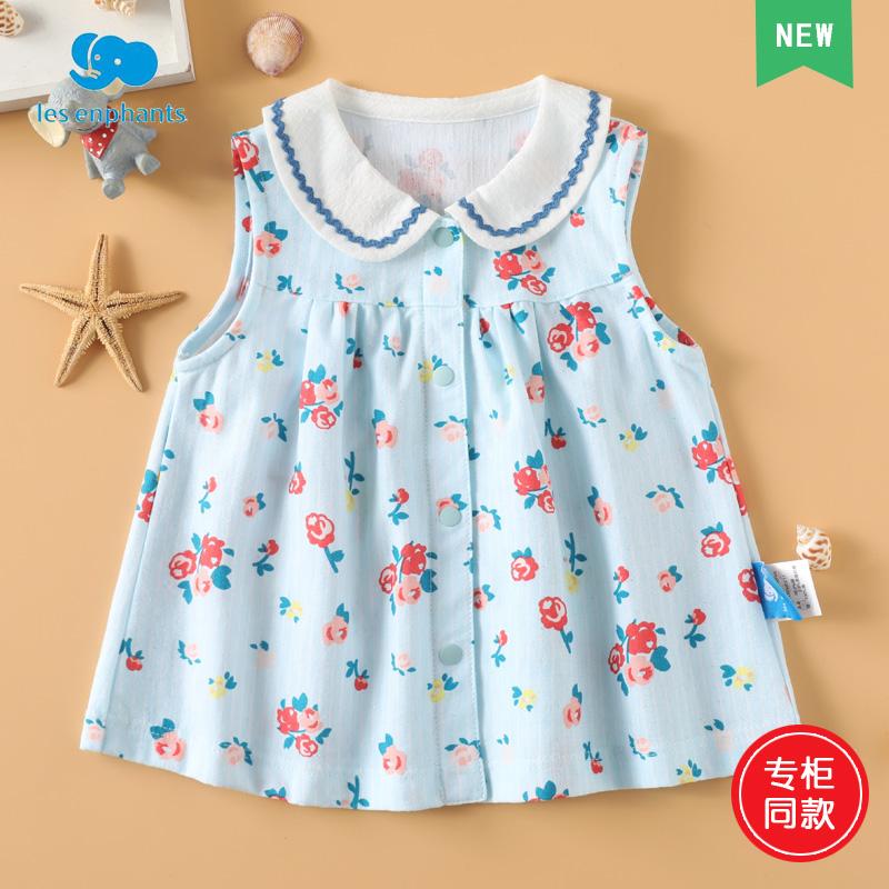 丽婴房专柜同款童装2020夏款女童凉爽玫瑰花小翻领无袖上衣