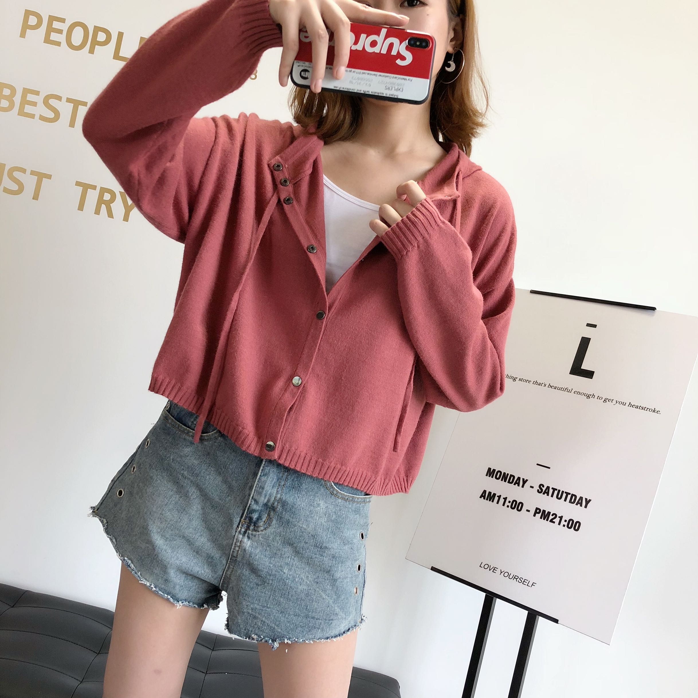 Autumn and winter 2020 new loose hooded sweater womens cardigan net red same original small fresh solid color coat