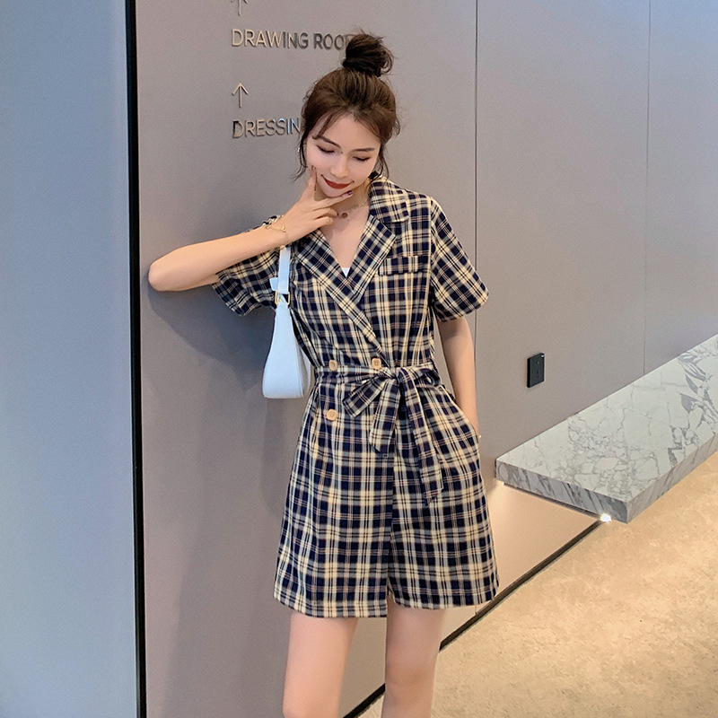 Suit one-piece pants female 2021 new Korean version light cooked style high waist slim Plaid one-piece shorts