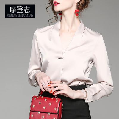 2020春装v领宽松纯色长袖雪纺衬衫百搭气质上衣女士通勤OL办公室