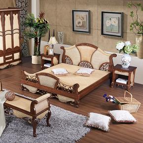 Кровати из ротанга,  Виноградная лоза кровать ротанг двуспальная кровать 1.8 виноградная лоза деревянные кровати 1.5 виноградная лоза деревянные кровати к юго-востоку азия стиль виноградная лоза дерево мебель индонезия ротанг кровать, цена 7956 руб