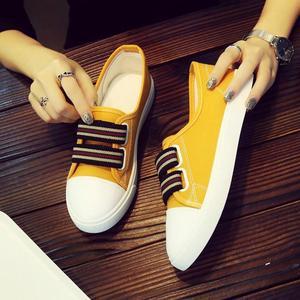 帆布鞋女鞋2018夏季新款韩版百搭学生平底懒人一脚蹬浅口小白布鞋