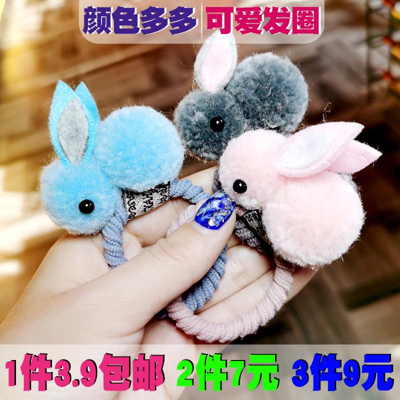 韩版ins少女心儿童可爱立体小兔子皮筋头绳夹子动物发绳发夹两用