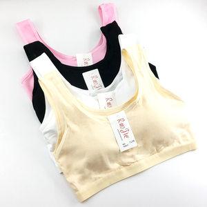 女学生传统纯色宽肩带海绵发育期少女背心 棉青春期少女文胸 136