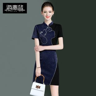亮丝修身 海青蓝中国风改良旗袍连衣裙2021流行夏季 新款 女装 短裙子