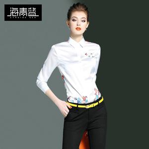 海青蓝2020春夏新款欧美时尚印花长袖白衬衫OL通勤职业衬衣女0212图片