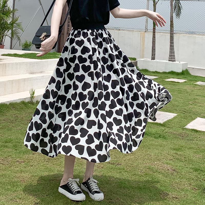 高腰愛心雪紡半身裙女歐洲站夏2020年新款減齡垂感A字蓬蓬裙傘裙