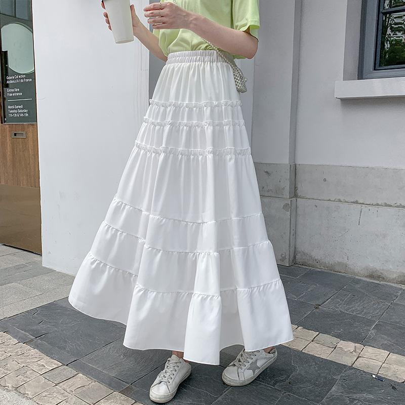 白色中長款蛋糕裙2020夏季新款女A字長款半身裙仙女雪紡長裙裙子