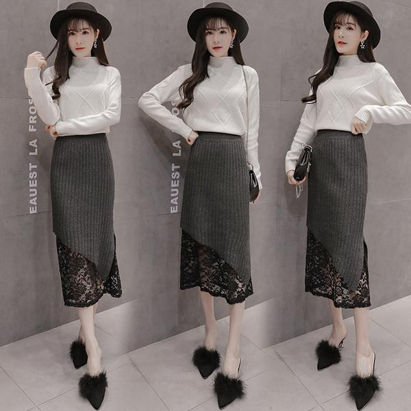 实拍冬季新款高腰不规则蕾丝拼接针织半身裙中长款显瘦包臀鱼尾裙