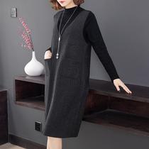 大码女装早秋季2019年新款时尚洋气套装胖mm显瘦连衣裙减龄两件套