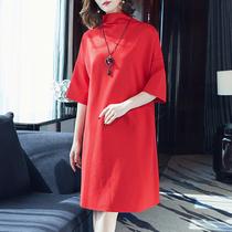 连衣裙2020年新款秋季大码女装胖mm显瘦五分袖适合胖人的裙子洋气