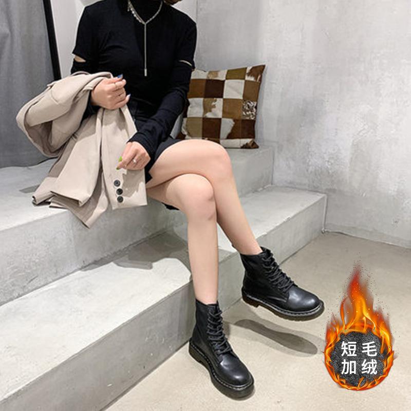 伊自尚2021早秋新款百搭短靴女爆款马丁靴黑色中筒皮靴潮