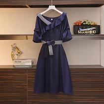 伊自尚胖mm夏装大码女装2020年新款气质洋气减龄遮肚子显瘦连衣裙
