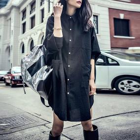 冷淡风春夏新款蝙蝠袖显瘦衬衫裙